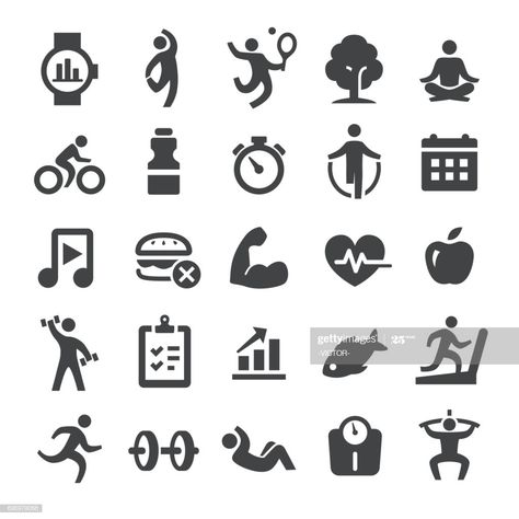 Health And Fitness Icons Set Smart Series Illustration #Ad, , #Sponsored, #Icons, #Fitness, #Health, #Set
