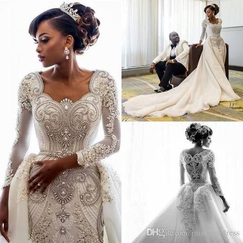 Sconti Abiti Da Sposa.Discount 2019 Beading African Wedding Dresses Crystals Overskirts