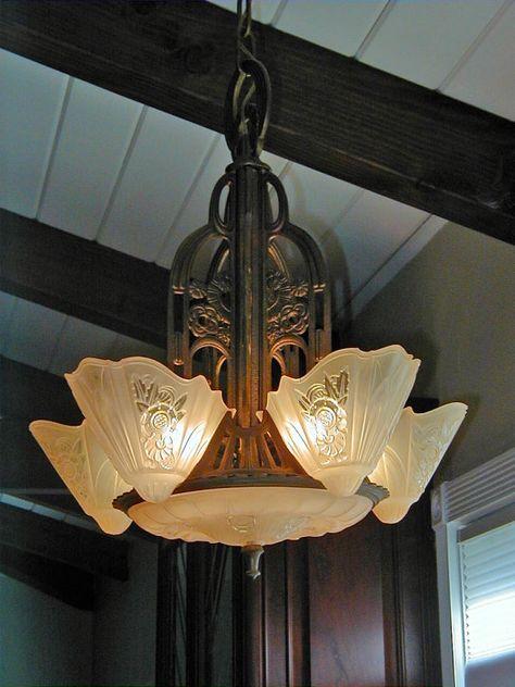 Set Of Art Deco Chandelier Slip Shades Sconces Glass Lamp