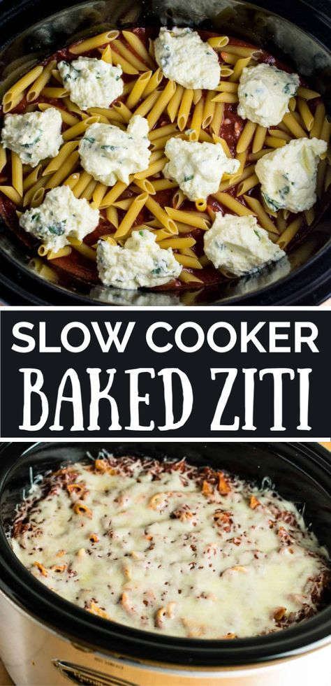 slow cooker baked ziti made entirely in the crock pot! You don't even cook the noodles first! Everyone goes crazy for this recipe for dinner easy crockpot Easy Crock Pot Baked Ziti Recipe - Build Your Bite Crock Pot Baked Ziti Recipe, Slow Cooker Baked Ziti, Crockpot Dishes, Crock Pot Slow Cooker, Crock Pot Cooking, Cooking Recipes, Crock Pot Pasta, Crockpot Recipes For Dinner, Potluck Slow Cooker Recipes