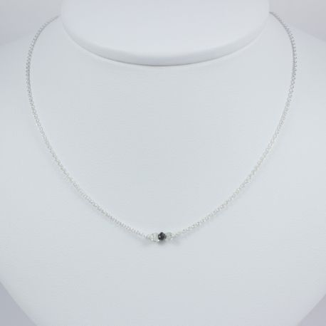 collier diamant noir brut