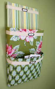 Crafty quilters ready to clean up all of the mail scattered throughout the house should make their own Hanging Mail Organizer!