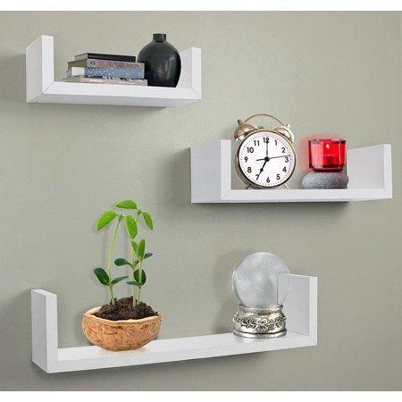 Greenco Set Of 3 Floating Wall Shelves White Finish Walmart Com Floating Wall Shelves Shelves Wall Mounted Shelves