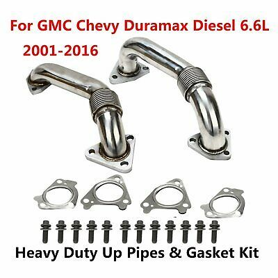 Heavy Duty Up Pipes /& Gasket Kit For 2001-2016 GMC Chevy Duramax Diesel 6.6