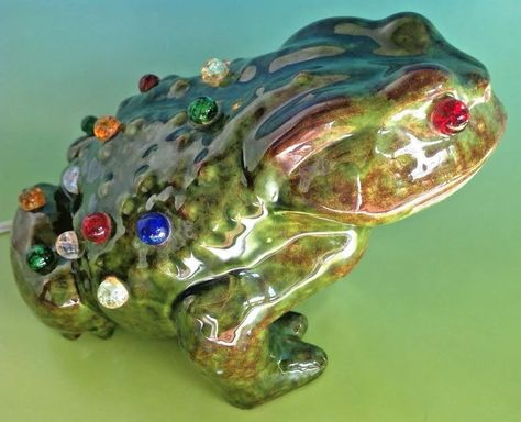 Vintage 1960s Frog Toad Ceramic Lamp Night Light Glass