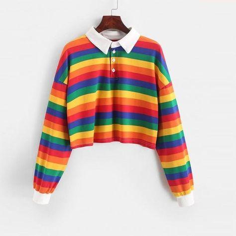 Polo Shirt Women Sweatshirt Long Sleeve Rainbow Color Ladies Hoodies With Button Striped Korean Style Sweatshirt Women - 02 / M