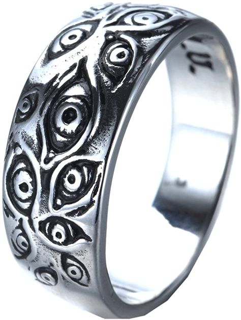 PMTIER Men's Vintage Stainless Steel Engraved Eye of God Ring Silver Tone Size 7 Amazon.com