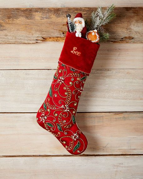 Horchow Christmas Items 2020 Holiday Cheer Stocking, Personalized in 2020 | Holiday cheer