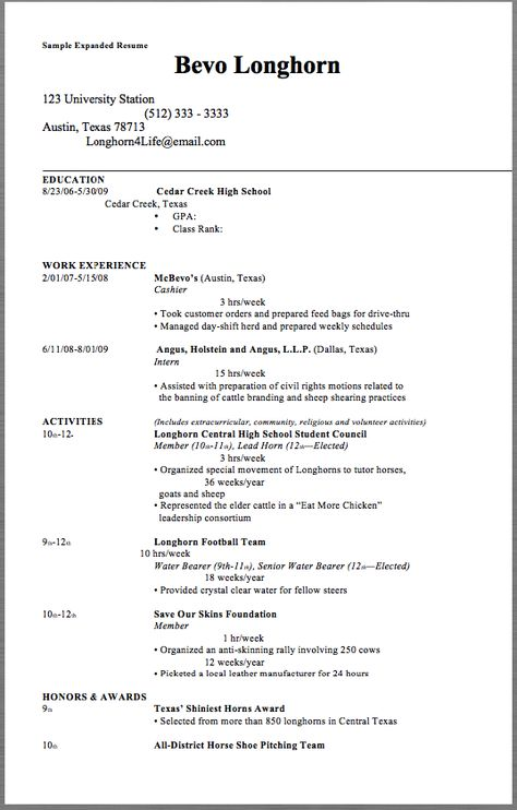 Sample Expanded Resume Sample Expanded Resume Bevo Longhorn 123 - drafting resume examples