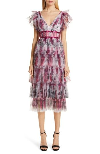Marchesa Notte Floral Tiered Midi Cocktail Dress Midi Cocktail Dress Trendy Cocktail Dresses Summer Cocktail Dress