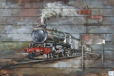 Train Station 3d Relief Painting Metal Art Decor Home Wall Art