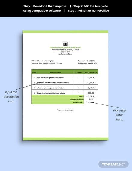 Freelance Consultant Receipt Template Word Excel Google Doc Apple Mac Pages Google Sheets Apple Mac Number Receipt Template Templates Document Templates