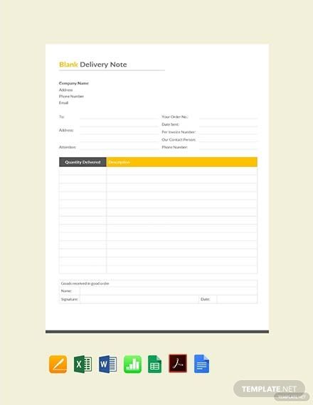 Free Blank Delivery Note Doctors Note Template Notes Template
