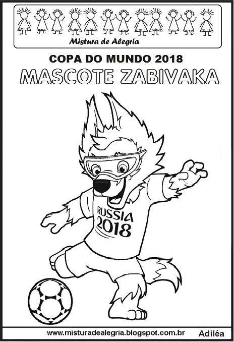 Mascote Da Copa Do Mundo De 2018 Para Imprimir E Colorir Com
