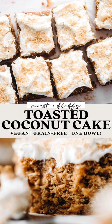 With coconut butter in the batter, toasted coconut folded in, and coconut cream frosting, this fluffy vegan grain-free Toasted Coconut Cake is the ultimate tropical treat!