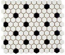 Merola Tile Metro Hex Matte White With Black Dot 10 1 4 In X 11 3 4 In X 6mm Porcelain Mosaic Tile 8 56 Sq Ft Case Fdxmhmwd Black Vinyl Flooring Black White Tiles Honeycomb Tile