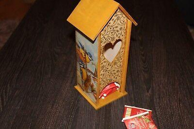 bird TEA house box caddy decoupage jewelry vintage bird blue brown chickadee #fashion #home #garden #homedcor #boxesjarstins (ebay link)