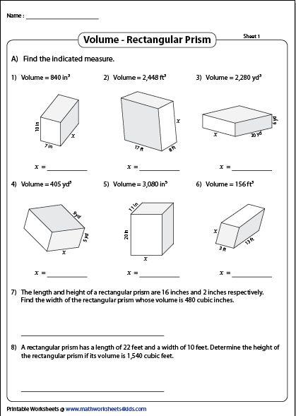 Volume Of A Rectangular Prism Printable Worksheets Rectangular Prism Rectangular Prisms Rectangular