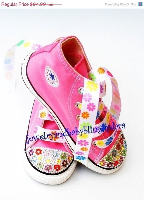 699801429143 Baby Bling Infant Toddler BRIGHT FLOWER Crystal Bling Chuck Taylor Pink  Hi-Top Sneakers Shoes on Etsy
