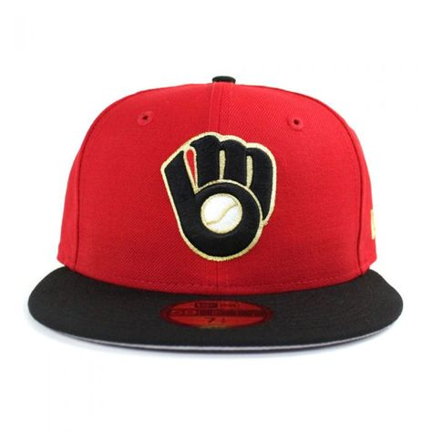 Red Milwaukee Brewers Hat New Era Hats Fitted Hats Black And Red