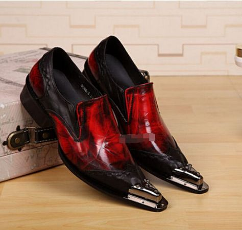Chic Men/'s Metal Toe Leather party dress pointed toe shoes leather chelsea heel