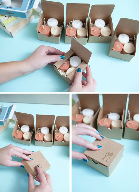 tutorial shows how to make ombre candle wedding favors and how to heat emboss the boxes with a cute wedding rubber stamp!This tutorial shows how to make ombre candle wedding favors and how to heat emboss the boxes with a cute wedding rubber stamp! Wedding Favors And Gifts, Vintage Wedding Favors, Candle Wedding Favors, Wedding Favor Boxes, Party Favors, Wedding Decorations, Favour Boxes, Wedding Ideas, Diy Wedding Souvenirs
