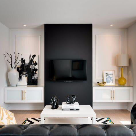 Schwarzer Fernseher Schwarze Wand Ton In Ton Look Wohnzimmer Innendesign Interiordesign Tv Wand Wohnzimmer Wohnen Innenraum
