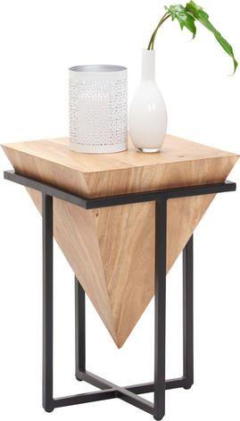 Beistelltisch In Holz Metall 36 36 56 Cm Holzharztisch