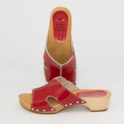 Holzclogs Pantolette Rot Lack Schuhe Frauen Schuhe Damen Rote Schuhe