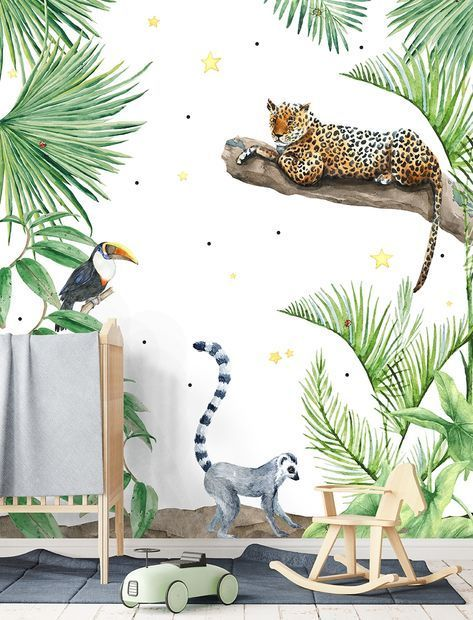Behang Kinderkamer Jungle.Jungle Print Behang Meubels Blank Hout Of Underlayment Stoere