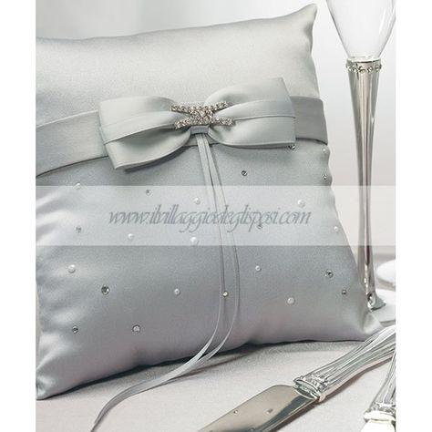 Cuscini Vendita.Vendita Online Cuscino Fedi In Raso Grigio Silver Ring Pillow