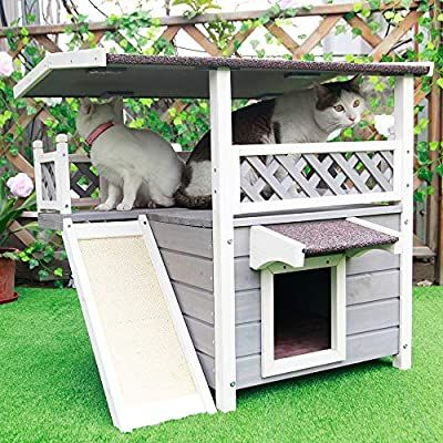 Petsfit Weatherproof Outdoor Indoor Cat House With Scratching Pad For 1 3 Cats Pet Supplie Outdoor Cat House Cat Houses Indoor Outside Cat House