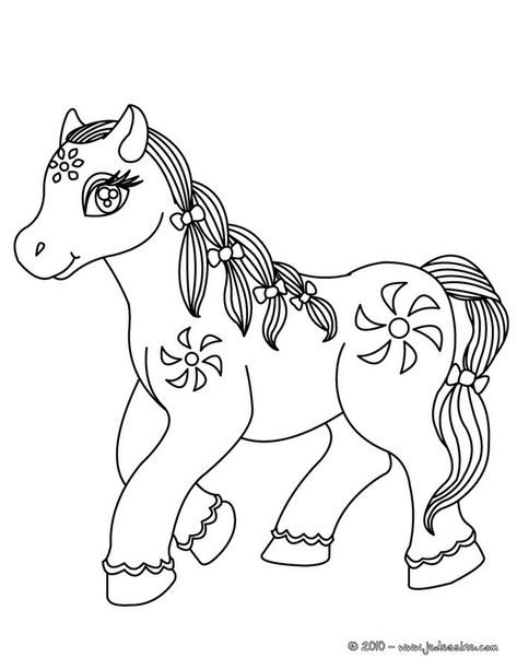 Coloriages Cheval Kawaii Fr Hellokids Coloriage Poney