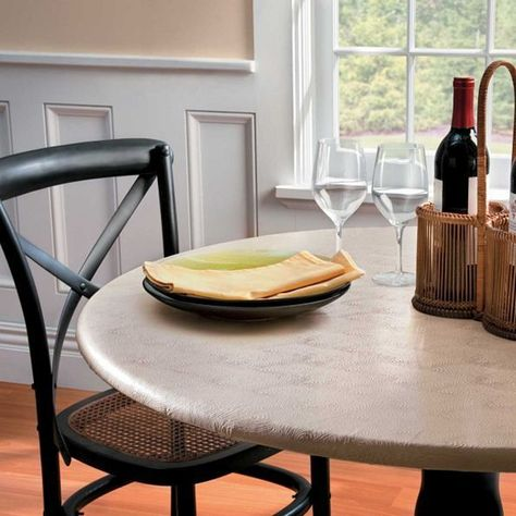 Cream Embossed Round Elasticized Vinyl Table Cover Dining Kitchen 36 48 Dia Na Fitted Table Cover Round Table Covers Vinyl Table Covers