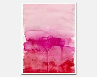 Pink Watercolor Gradient Print Abstract Art Millennial Pink
