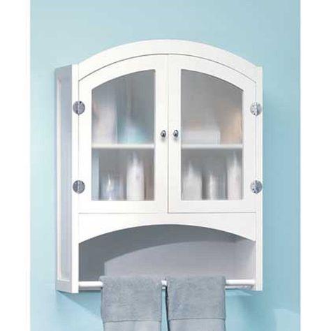 White Medicine Cabinet Shelf Wall Mount Hanging Towel Bar Bathroom