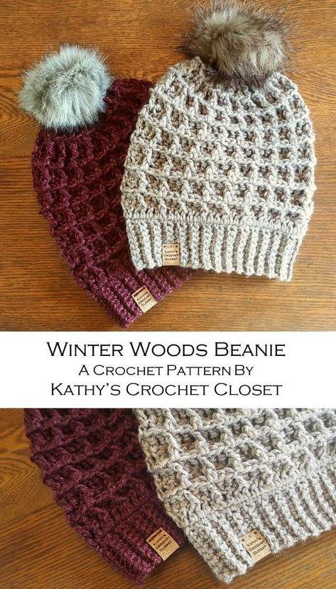 Crochet Beanie PATTERN Winter Woods Beanie Hat Fur Pompom DIY   Etsy