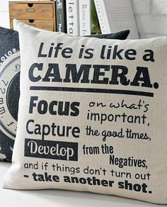Rare, industrial style camera life quote throw pillow.