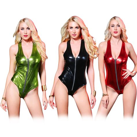 35fe7bde90208 Women s Metallic Shiny Leotard Bodysuit Jumpsuit Wet Look Zip Bodycon  Clubwear