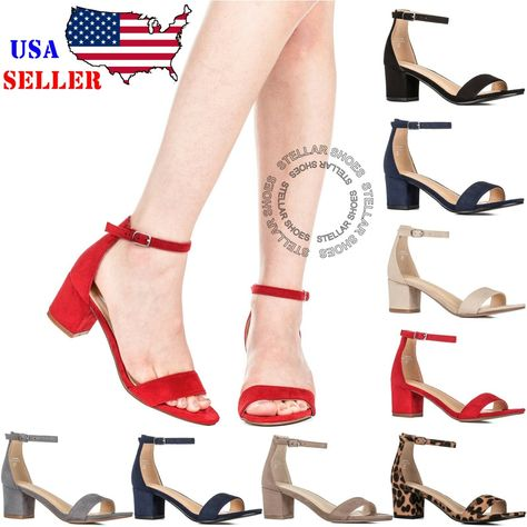 d181e4ca3fc New Women s Fashion Ankle Strap Chunky Heels Sandals Shoes  ankle  chunky   fashion