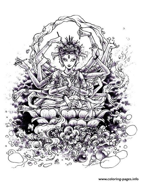 Print adult zen anti stress india drawing coloring pages ...