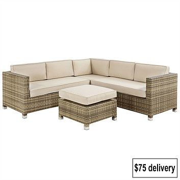 Amalfi Woven Hill Wicker Corner Sofa Set Briscoes Nz Corner Sofa Set Sofa Set Corner Sofa