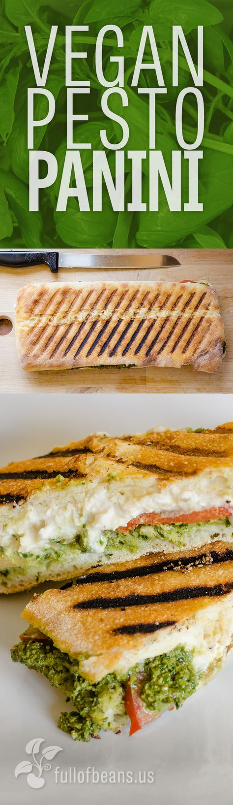 Get that Weekend or Game Day Vibe! This vegan pesto panini combines the flavors of ripe tomato and the classic bold taste of pesto with the creaminess of a spreadable vegan cheese. Delish! We even have a video of making it! :-) #vegan #pesto #panini #partyfood