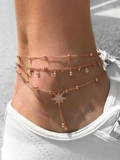 Rhinestone Beads Star Anklet Set – 2020 Fashions Womens and Man's Trends 2020 Jewelry trends