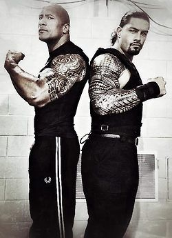 The Rock and his cousin...also a wrestler :D