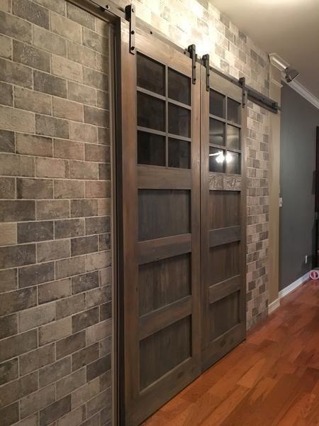 Vintage 3 Panel Door With Windows Interior Sliding Barn Doors Barn Doors Sliding Wood Doors Interior