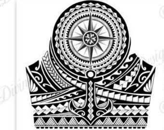 Half Sleeve Polynesian Tattoo Wrap Around Shoulder To Elbow Tattoo Design And Stencil Instant Digital Download Model 001 Polynesian Tattoo Designs Polynesian Tattoo Sleeve Maori Tattoo Designs