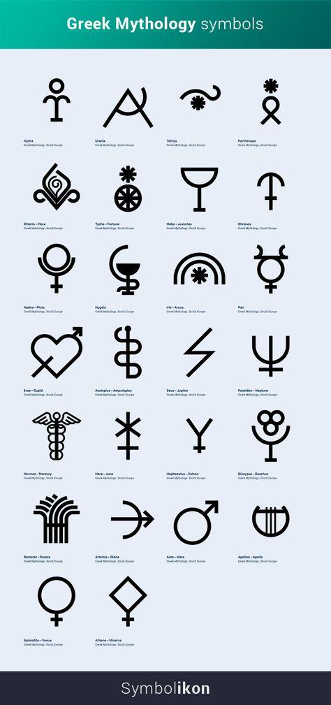 Greek Mythology Symbols - Ancient Symbols + meanings - Sketch Drawing Tattoo Ancient Glyphs Icons