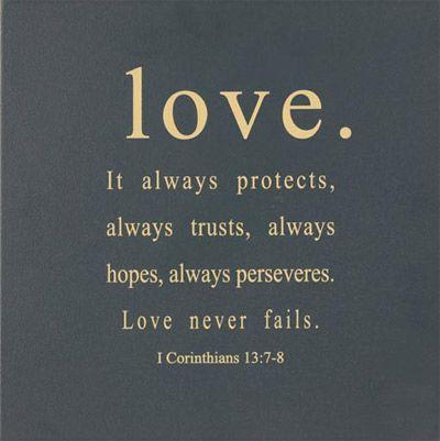 Love - 1 Corinthians 13:7-8 – ChristianGiftsPlace.com Online Store