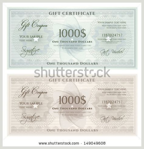 Gift Certificate, Voucher, Coupon Template With Blue Guilloche   Money  Voucher Template  Money Voucher Template